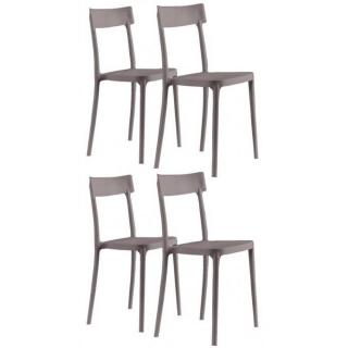 Lot de 4 chaises CORSOCOMO empilables polypropylène taupe
