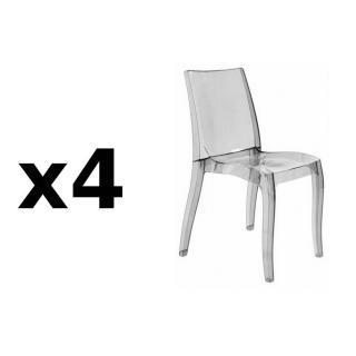 Lot de 4 chaises CRISTAL LIGHT design fumée
