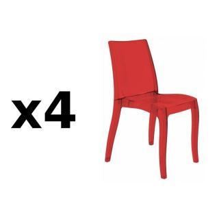 Lot de 4 chaises CRISTAL LIGHT design rouge