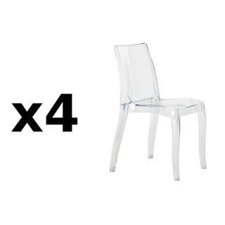 Lot de 4 chaises CRISTAL LIGHT design