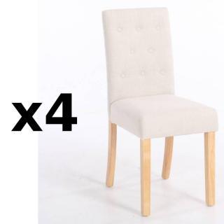 Lot de 4 chaises capitonnées DAGOBERT en lin écru