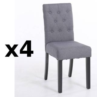 Lot de 4 chaises capitonnées DAGOBERT en lin gris
