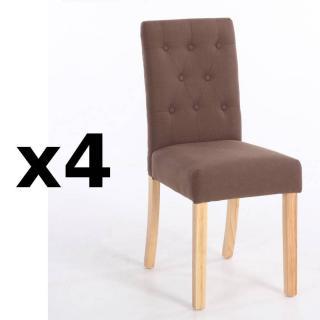 Lot de 4 chaises capitonnées DAGOBERT en lin taupe