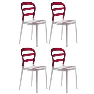 Lot de 4 chaises design DEJAVU en plexiglas rouge et blanc