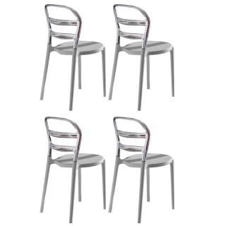 Lot de 4 chaises design DEJAVU en polycarbonate transparent et blanc