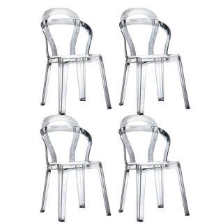 Lot de 4 chaises design RAINBOW en plexiglas transparent