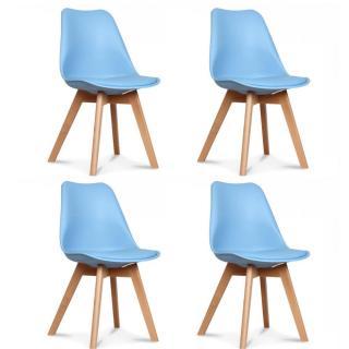 Lot de 4 chaises OSLO design scandinave bleue clair piétement en hêtre