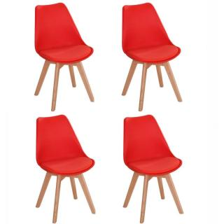 Lot de 4 chaises OSLO design scandinave rouge piétement en hêtre