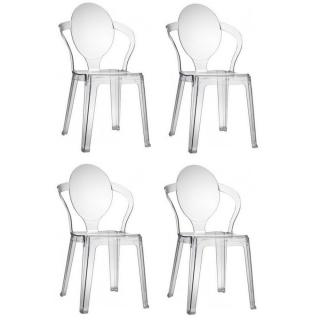 Lot de 4 chaises design SPOT en polycarbonate transparent