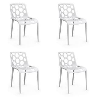 Lot de 4 chaises empilables HERO blanche