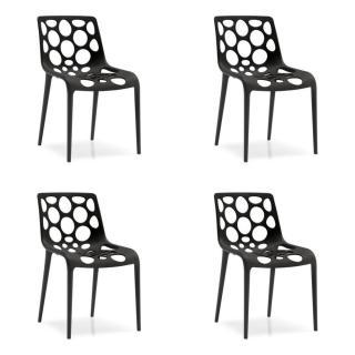 Lot de 4 chaises empilables HERO noire
