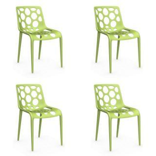 Lot de 4 chaises empilables HERO verte claire