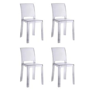 Lot de 4 chaises design FUTURA en polycarbonate transparent