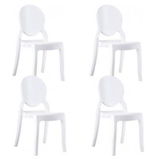 Lot de 4 chaises médaillon IMPÉRATRICE style Louis XVI en polycarbonate blanc opaque