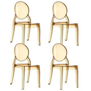 Lot de 4 chaises médaillon IMPÉRATRICE style Louis XVI en polycarbonate coloris champagne