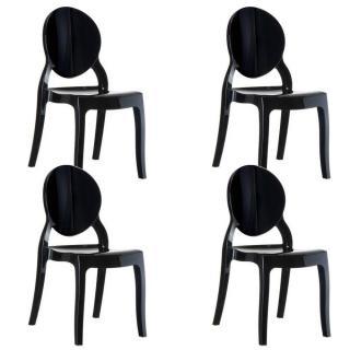 Lot de 4 chaises médaillon IMPÉRATRICE style Louis XVI en polycarbonate noir opaque