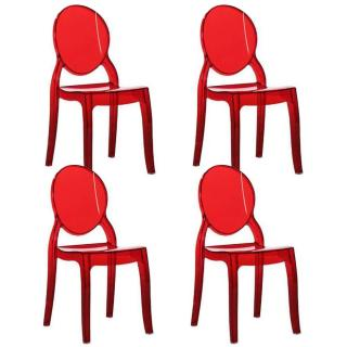 Lot de 4 chaises médaillon IMPÉRATRICE style Louis XVI en polycarbonate transparent coloris rouge