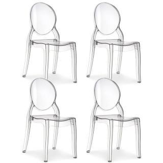 Lot de 4 chaises médaillon IMPÉRATRICE style Louis XVI en polycarbonate transparent
