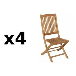 Lot de 4 chaises de jardin LOMBOCK en teck