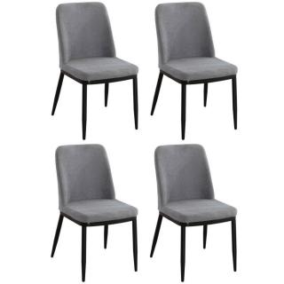 Lot de 4 chaises LINKS design tissu aspect velours gris clair