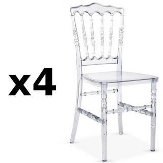 Lot de 4 chaises design MARIE LOUISE en polycarbonate transparent