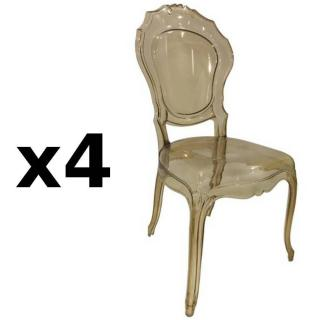 Lot de 4 chaises design NAPOLEON en polycarbonate transparent champagne