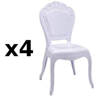 Lot de 4 chaises design NAPOLEON en polycarbonate opaque blanc