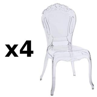 Lot de 4 chaises design NAPOLEON en polycarbonate transparent