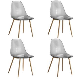 Lot de 4 chaises design scandinave OSANA en polycarbonate fumé