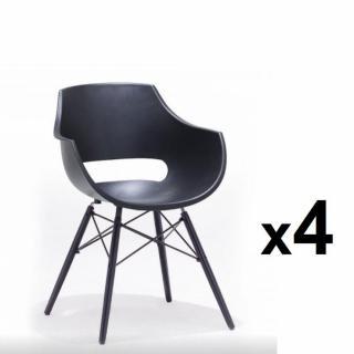 Lot de 4 chaises scandinave REMO coque noire piétement hêtre laque noir mat