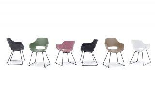 Lot de 4 chaises design REMO coque grise piétement luge métal noir mat