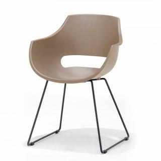 Lot de 4 chaises design REMO coque taupe piétement luge métal noir mat