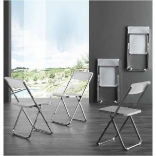 Lot de 4 chaises pliantes design BIT LUX en polypopylène translucide et acier chromé.