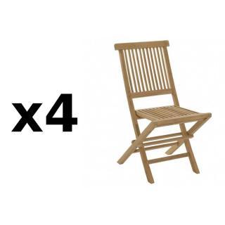 Lot de 4 chaises de jardin JAVA en teck