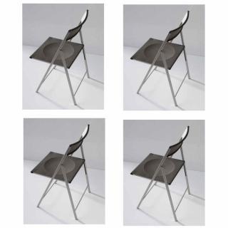 Lot de 4 chaises pliantes STEEL en polypropylène noir et acier chromé.