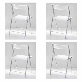 Lot de 4 chaises pliantes STEEL en polypropylène translucide blanc translucide et acier chromé.