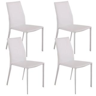 Lot de 4 chaises design POLO revêtement polyuréthane façon cuir blanc