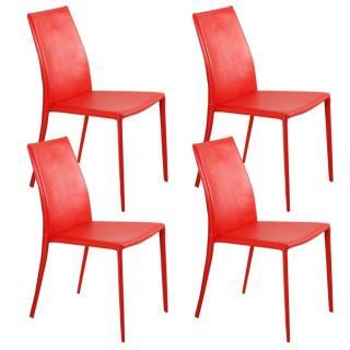 Lot de 4 chaises design POLO revêtement polyuréthane façon cuir rouge