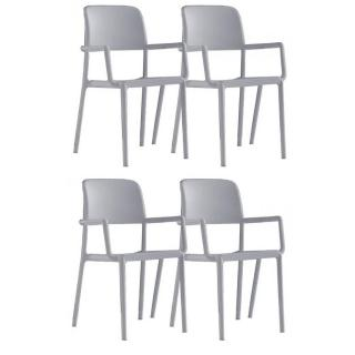 Lot de 4 chaises RIVER B empilables blanches