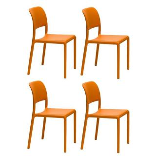 Lot de 4 chaises RIVER empilables design orange
