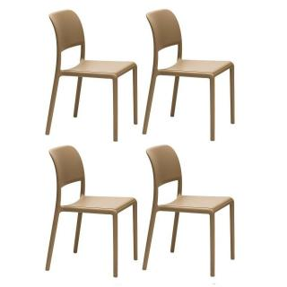 Lot de 4 chaises RIVER empilables design sablé