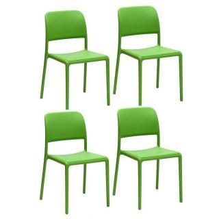 Lot de 4 chaises RIVER empilables design vert