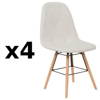 Lot de 4 chaises design scandinave HENRY simili PUpu blanc