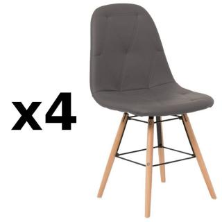 Lot de 4 chaises design scandinave HENRY similicuir pu gris