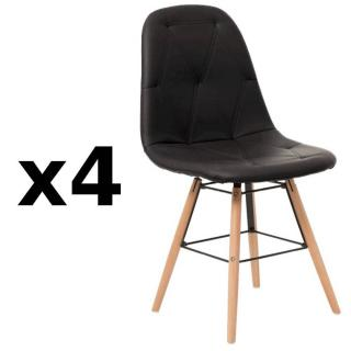 Lot de 4 chaises design scandinave HENRY similicuir pu noir