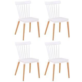 Lot de 4 chaises à barreaux design scandinave ICONIC blanche mate piétement chêne clair