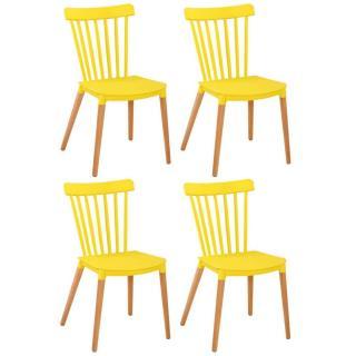 Lot de 4 chaises à barreaux design scandinave ICONIC jaune mat piétement chêne clair