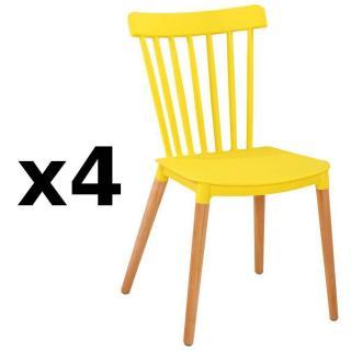 Lot De 4 Chaises A Barreaux Design Scandinave ICONIC Jaune Mat Pietement Chene Clair