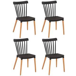 Lot de 4 chaises à barreaux design scandinave ICONIC noire mate piétement chêne clair