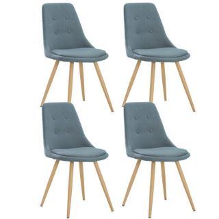Lot de 4 chaises design scandinave MIDGARD tissu bleu